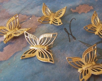 4 PCRaw Brass DECO Butterly - Dapped Jewelry Finding - F0134