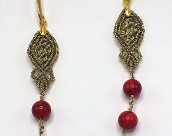 MACRAME Earrings ' Coral