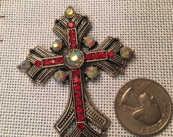 Crystal bling cross needle minder