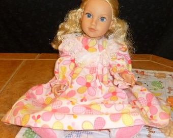 American Doll Handmade Nightgown - Pink and Yellow Floral
