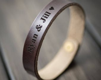Customized Bracelet, Personalized Bracelet, Leather Bracelet, Custom Cuff Bracelet engraved, Gift for him- Chocolate