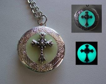 Illumination Glow In The Dark Silver Cross Necklace ~ Locket Bright Aqua Glow Religious Cross Locket