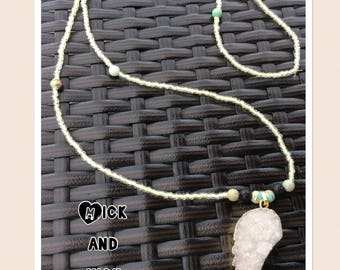Beaded Aromatherapy necklace with Druzi Crystal winged Gold-wrapped Pendant and lava stone diffuser beads