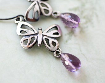 Amethyst Sterling Silver Butterfly Earrings, Handmade Silver Butterfly Jewelry,  Sterling Silver Amethyst Birthstone Earrings