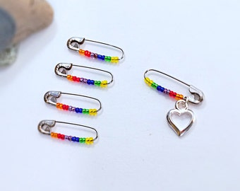 LGBT Solidarity Safety Pin-Inspirational LGBT Pride-Rainbow Safety Pins- Charity Support Heart Pin - Lgbt Support Pin-Lgbt jewelry pin, gift
