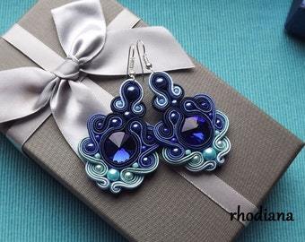 Rivoli Shades of Sky Soutache Earrings