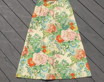60's Vintage Floral Skirt, Medium