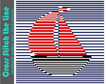 Minimalist sailing boat. Contemporary cross stitch pattern. Modern design.