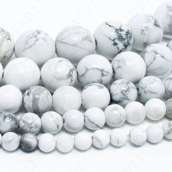 12MM WHITE HOWLITE GEMSTONE WHITE ROUND 12MM LOOSE BEADS 7.5/""