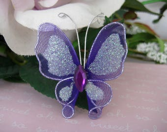 Sale 12 PURPLE Nylon Butterflies for Wedding Accessories, Party Favors, Christening, Embellishments, Crafting, 2 inches / 50 mm