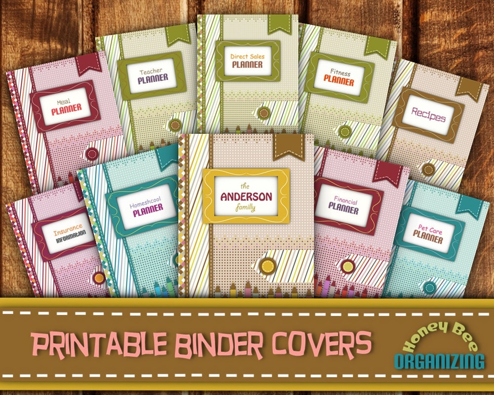 3 ring binder cover and spine template