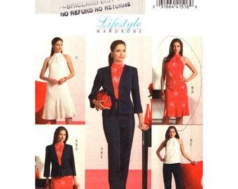 Womens Sewing Pattern Princess Seam Jacket, High Neck Top, Flared Godet Dress, Skirt, Pants Butterick 4996 Women Wardrobe Size 6 to 12 UNCUT