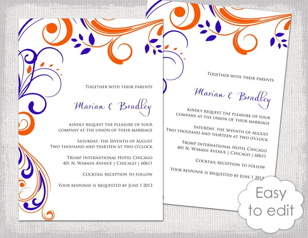 Printable Wedding invitation templates Mandarin orange and