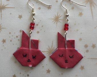 Earrings rabbit paper origami/gift for her / girl/birthday gift jewelry.