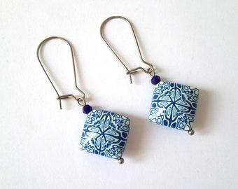 Polymer Clay Earrings, Abstract Earrings, Handmade Earrings, Kidney Wire Earrings