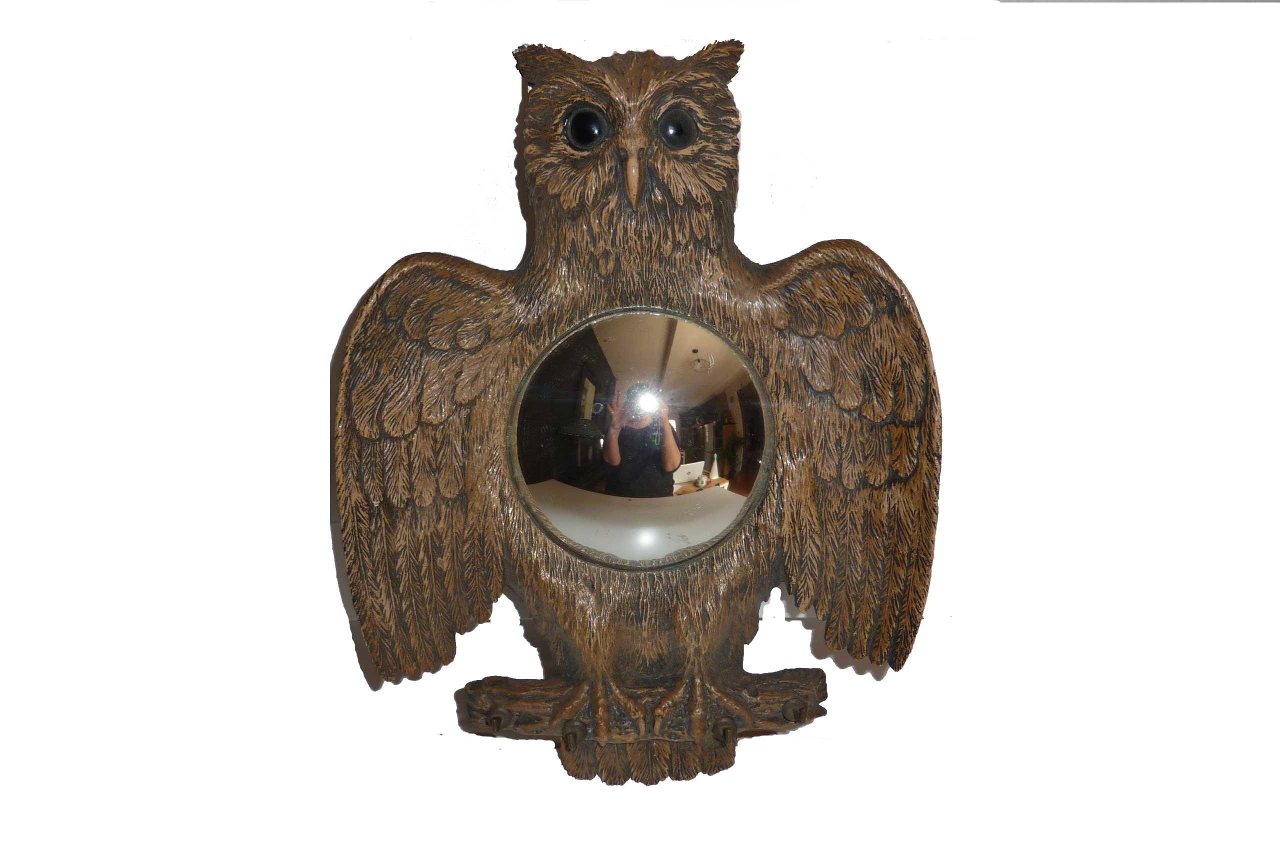 miroir oeil de sorci re ancien rond forme de chouette hibou. Black Bedroom Furniture Sets. Home Design Ideas
