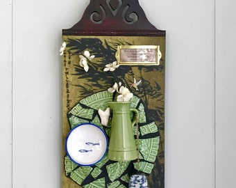 Hummingbird, Assemblage Art, Assemblage, 3D Collage Art, Mosaic