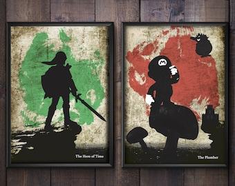 Nintendo Poster Set. Zelda and Mario Minimalist Prints.