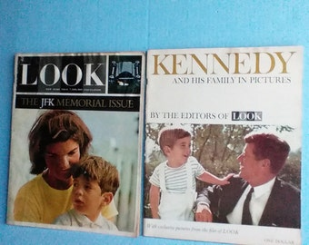 LOOK mag. JFK memorial issue and Look Kennedy life in pictures 1964