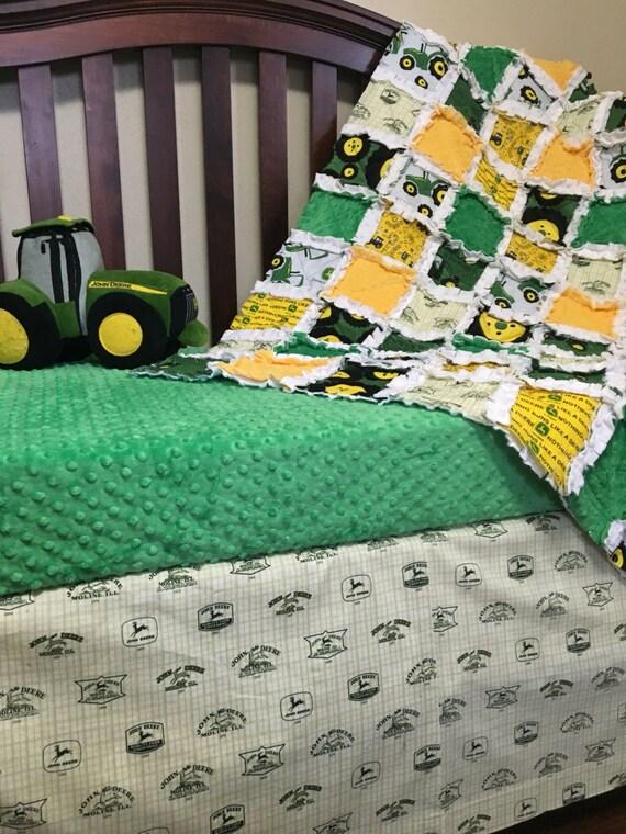 John Deere inspired Crib Bedding/ Tractor Baby Bedding/ Farm