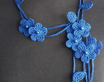 Crochet Necklace,Crochet Neck Accessory, Flower Necklace, Royal Blue, 100% Cotton.