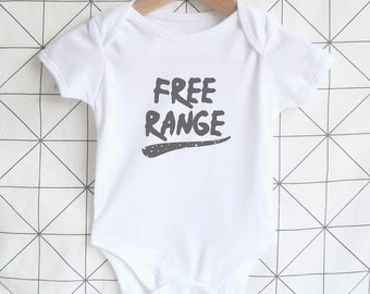 Free Range - Cute Baby Bodysuit, Unisex New Baby Onesie, Festival Baby Shirt, Shower Gift, Outdoors Slogan, Farm, Graphic Print One Piece