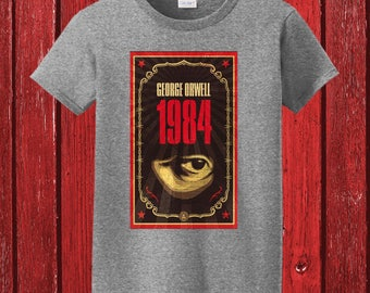 George Orwell 1984 Classic Book Cover Graphic on 100% Preshrunk Tee Shirt