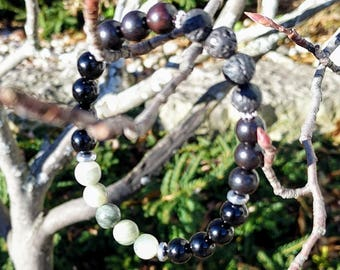 Green Line Jasper and Black Onyx Handmade Essential Oil Aromatherapy Diffuser Bracelet