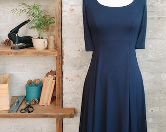 Marion Flared Navy Blue Dress - flared dress - short dress with sleeves - navy dress - petite clothing - casual dress - office dress