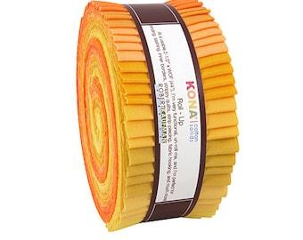 "Robert Kaufman Kona Cotton Solids Citrus Burst Roll Up 2.5"" Precut Fabric Quilting Cotton Strips Jelly RU-431-40"