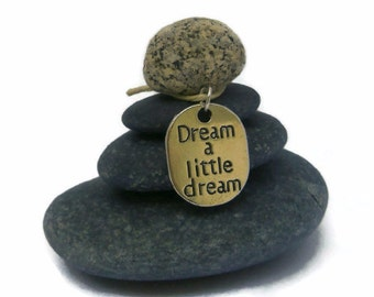 Dream a Little Dream Rock Cairn, Imagination, Inspirational, Daydream, Positive Energy, Stacked Stone Cairn,  Desk Gift Holiday Secret Santa