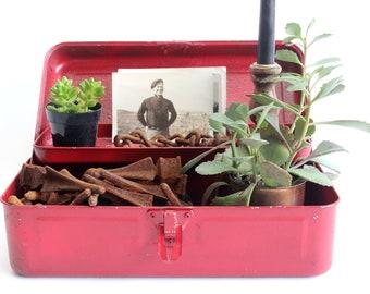Red Metal Tool Box, Decorative Storage, Vintage Prop