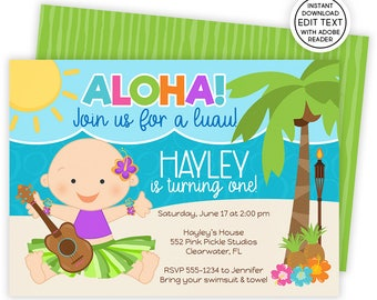 Luau Invitation, 1st Birthday Invitation, Luau Baby Birthday,Luau 1st Birthday,Hawaiian Invitations,Luau Birthday Invitation,Luau Party |552