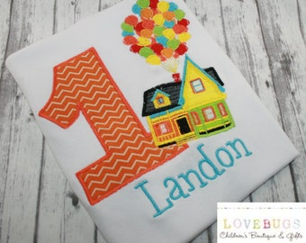 Custom House with Balloons Birthday Shirt  ~ Embroidered, Applique, Monogram ~ Custom Birthday Shirt!