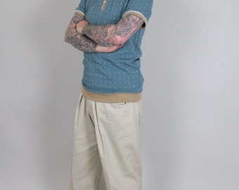 1930's style high rise cotton twill trousers in sand colour, leisure vintage style trousers, high waist mens trousers, vintage sports wear