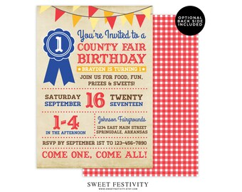 County Fair Invitation, County Fair Party, State Fair Invitation, Carnival Invitation, Carnival Party, 1st Birthday, First Birthday