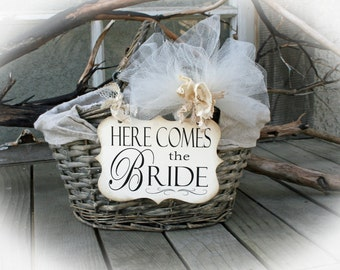 FLOWER Girl Basket Signs- Here Comes the Bride Sign/Happily Ever After- Here Comes Mommy- Flower Girl Basket signs ONLY