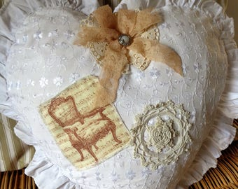 Heart shaped pillow cover for shabby chic eyelet