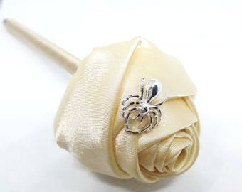 Yellow Handmade Satin Rose flower pen - Party Favor - Wedding Pen - Halloween - Goth