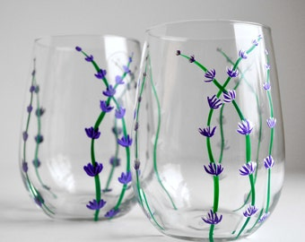 White and Purple Lavender Wine Glasses - Set of 2 Hand Painted Stemless Glasses with Purple and White Flowers