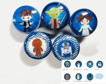"Star Wars Kids Decorative Knobs. 7 Different Star Wars Kids Characters. Available in 1.5, 1.25 or 1"" Buy Individually or As Many as You Need"