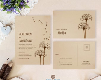 Dandelion wedding invitation with RSVP postcards printed on kraft card stock | Rustic themed wedding invitations