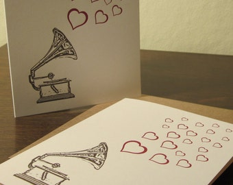 Record Player and Hearts - 6-Pack Letterpress Cards