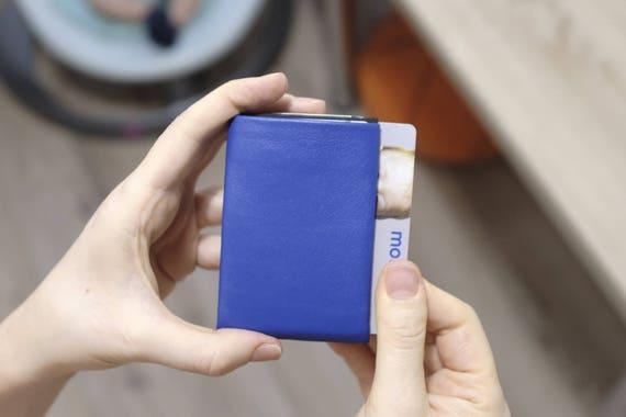 Minimalist Wallet, Blue Smooth Leather Wallet Mens wallet, RFID, groomsmen gift, boyfriend gift, husband gift, father gift