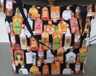 Tequila Bottles and Shot Glasses, Reusable Farmers Market / Grocery / Shopping Bag / Tote