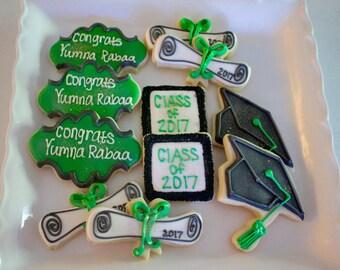 Graduation Cookies - School - College - University Cookies - Graduation Caps - Party Favors - Congratulation Cookies - 1 Dozen!