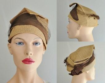 "Unique 40s Vintage Strawhat // Brown Hatband  // Size 55/21,7"""