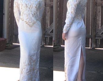 Vintage 1980s White Satin Wedding Dress w/ Gold Sequins & Beading / Size Small Petite