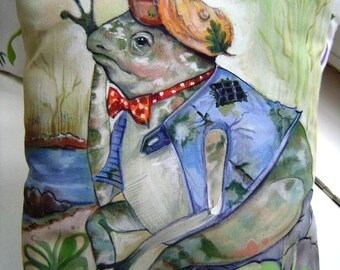 Frog in a Cap Pillow - Hand Painted 10x12 Child Playroom Imagine A Story Charming Character Frog Clad in Cap & Boots Whimsical