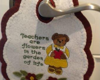 Teachers, gifts,home decor, door knob hanger,wool felt, machine embroidery